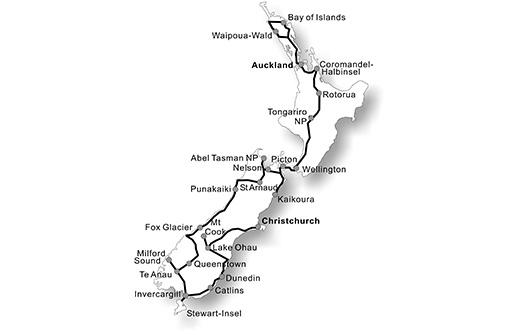 karte_Naturwunder_Neuseelands_mit_Stewart_IslandNeuseelandRundreise_ohne_Fluege